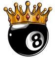 gold crown on a billiard ball isolated on white vector image