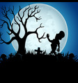 halloween background with zombies tree and grave vector image