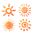 hand drawn sun icons vector image vector image