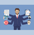happy businessman with many hands vector image vector image