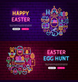 happy easter website banners vector image