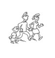 happy family cartoon walking together outlined vector image vector image