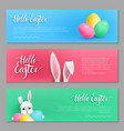 hello easter cards bunny set vector image
