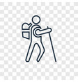 hiking concept linear icon isolated on vector image