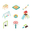 isometric 3d outdoor kids playground vector image
