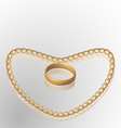Jewelry ring on golden chain of heart shape vector image