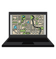 laptop computer with gps application vector image