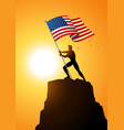 man holding the flag of the united states of vector image vector image