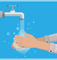 man washes hands with soap vector image