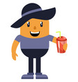 man with hat drinking soda on white background vector image vector image