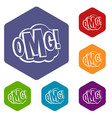 omg comic text speech bubble icons set hexagon vector image vector image