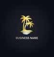 palm tree ocean beach logo vector image vector image