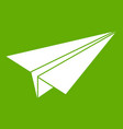 paper airplane icon green vector image vector image