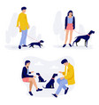 people walking with dogs men and women with their vector image