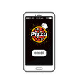 pizza order application in modern device banner vector image vector image