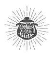 pot silhoutte with lettering - cooking with kids vector image
