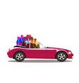 purple modern cartoon cabriolet car full of gift vector image vector image
