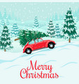 red auto with christmas tree on rodelivery vector image