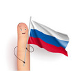russia flag hold by finger vector image vector image