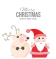 Santa and reindeer on a cheerful holiday card vector image