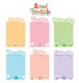 School Timetable Monday To Saturday vector image
