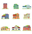 set different type house in village or city vector image
