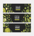 set of horizontal web banner templates with green vector image vector image