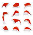 set of red santa claus hats vector image