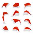 set red santa claus hats vector image