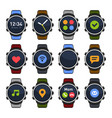 smart watch with different apps on screen icons vector image