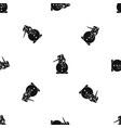 snowman pattern seamless black vector image vector image