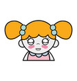 tender girl with hairstyle to kawaii avatar vector image vector image