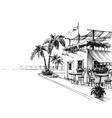 traditional restaurant sea shore sketch vector image vector image