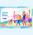 web page design template shows happy family walk vector image vector image
