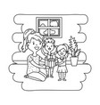 woman with children black and white vector image
