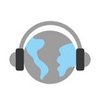 world planet with earphones device isolated icon vector image vector image