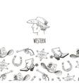 Western hand draw sketch set vector image