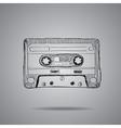 hand-drawn cassette tape vector image