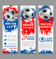 football sport game banner of soccer ball trophy vector image