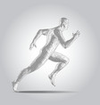 3d polygonal human body sprinter running figure vector image vector image