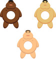 africa american asian and white men as a donuts vector image vector image