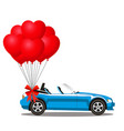 blue cartoon cabriolet car with red helium heart vector image vector image