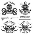 born to dive set vintage diver helmets diver vector image