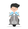 businessman driving front view motorbike vector image vector image