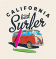 california best surfer poster vector image vector image