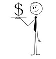 cartoon of waiter or businessman holding salver vector image vector image