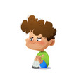 cartoon sad boy vector image