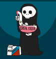 cereal killer death with cereal bowl cartoon vector image vector image