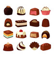 chocolate sweets with different fillings vector image