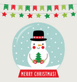 christmas glass ball with snowman greeting card vector image